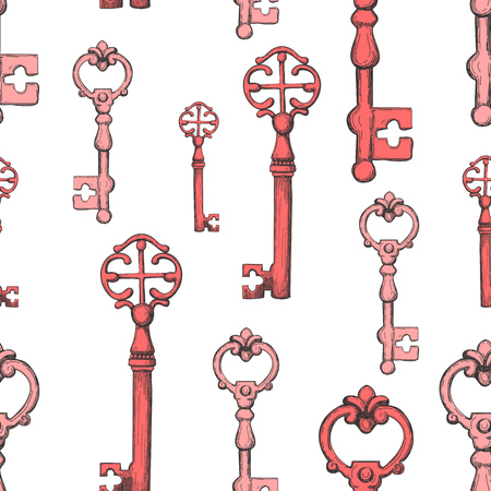 Seamless pattern. Vector set of hand-drawn antique keys. Illustration in sketch style on white background. Old design.