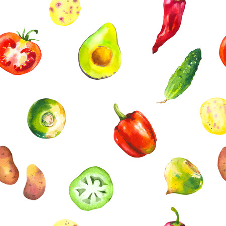 Watercolor illustration with composition of farm grown illustrations. Seamless pattern on white background. Vegetables set: potatoes, turnips, tomato, cucumber, root, onion. Fresh organic food. Zdjęcie Seryjne - 102264120