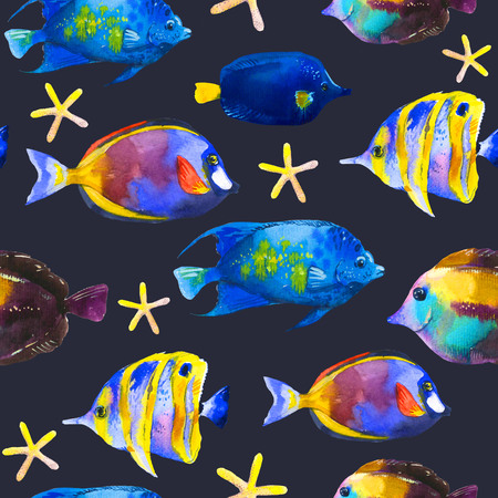 Seamless pattern with tropical fish. Watercolor illustration with hand drawn aquarium exotic fish on black background. Imagens