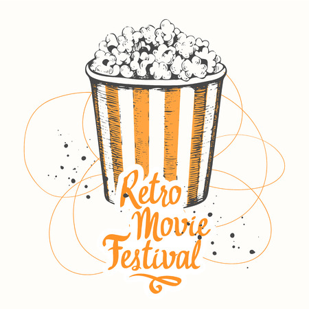 Vector illustration with sketch popcorn bucket. design. Cinema snack. Hand drawn fast food. Movie Time poster.