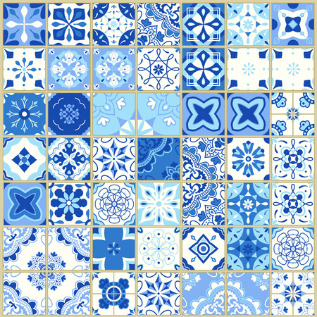 Seamless pattern with Portuguese tiles. Vector illustration of Azulejo on white background. Mediterranean style. Blue design. Illustration