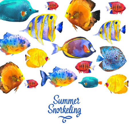 Pattern with tropical fish. Watercolor illustration with hand drawn aquarium exotic fish on white background.