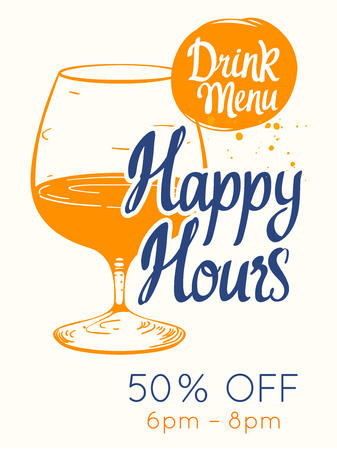 colorful happy hour signs background. vector illustration 版權商用圖片 - 105528908