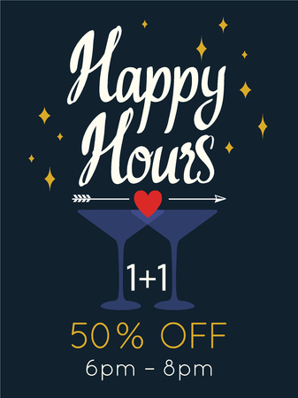 Happy hours poster. Vector illustration with cocktail in summer beach style for bar. Drink menu for celebration. Special offer.
