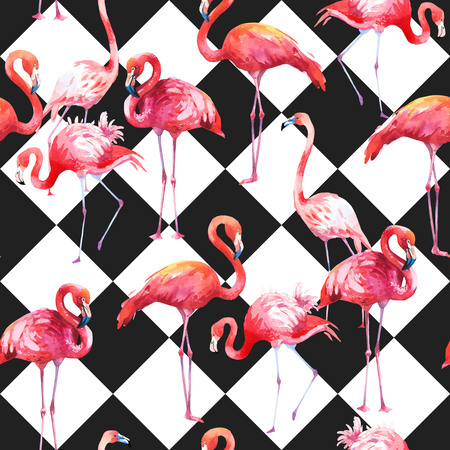 Watercolor seamless pattern on black and white abstract background. Illustration with pink flamingo. Tropical bird. Paradise. Stock Photo