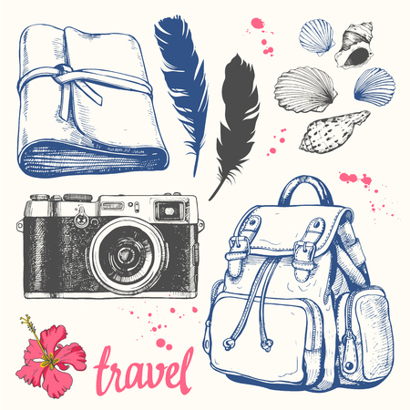 Travel hand-drawn set with backpack, feathers, camera, notebook, seashells. Vector illustration in sketch style on white background. Brush calligraphy elements. Handwritten ink lettering.