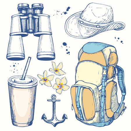 Travel hand-drawn set with backpack, hat, plastic cup, binoculars. Vector illustration in sketch style on white background. Brush calligraphy elements for your design. Handwritten ink lettering.