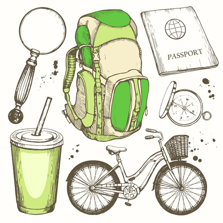 Travel hand-drawn set with backpack, magnifier, bicycle, plastic cup, passport, compass. Vector illustration in sketch style on white background. Brush calligraphy elements. Handwritten ink lettering.  イラスト・ベクター素材