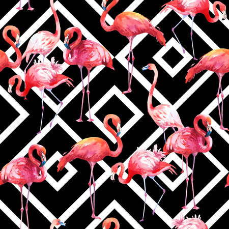 Watercolor seamless pattern on black and white abstract background. Illustration with pink flamingo. Tropical bird. Paradise. Banque d'images