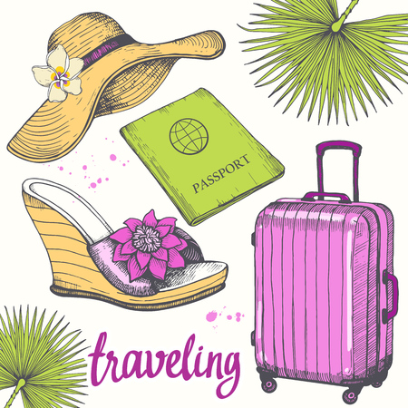Holiday hand-drawn set with hat, passport, flip flops, palm leaf, suitcase. Vector illustration in sketch style on white background. Brush calligraphy elements. Handwritten ink lettering.