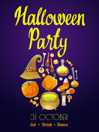 Halloween party poster. Funny background with scary objects.set with eyes, potion, candies, witches hat, chicken feet and pumpkin in cartoon style.
