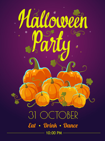 Halloween party poster. Funny background with pumpkins in cartoon style. Vector holiday illustration. Illustration