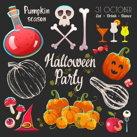 Halloween witches set with funny and scary objects.  illustration of eyes, potion, candies, mushroom, bone, pumpkin, hat and boots in cartoon style.
