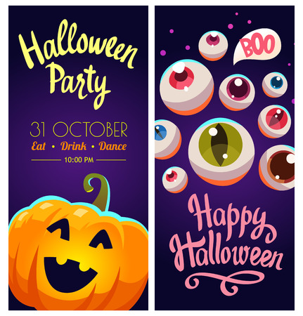 Set with Halloween labels. Funny and scary objects. Vector illustration of eyes and pumpkins in cartoon style.