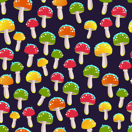 Happy Halloween poster with multicolored mushrooms pattern. Funny  illustration for holiday in cartoon style. Seamless background. Foto de archivo - 109560986