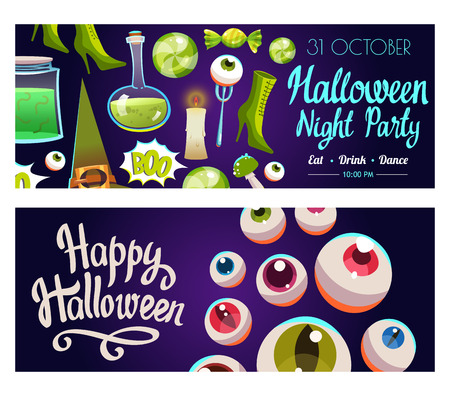 Set with Halloween labels. Funny and scary objects.  illustration of eyes, potion, broom, candies, hat and boots in cartoon style. Stock Photo