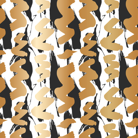 Seamless pattern with creative texture. Vector illustration of spray paint on white background. Ink smudges. gold and black colors. Stock Vector - 116587718
