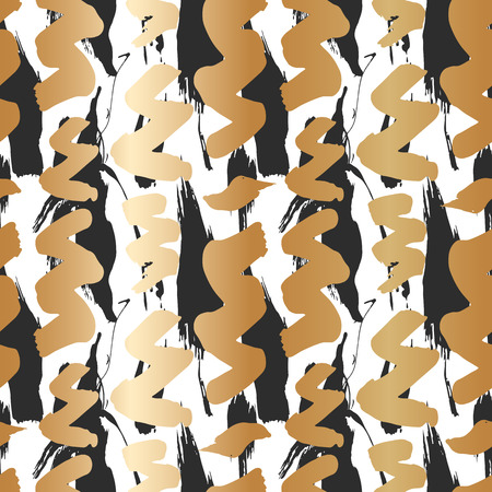 Seamless pattern with creative texture.  illustration of spray paint on white background. Ink smudges. gold and black colors. Stock Illustration - 109560987