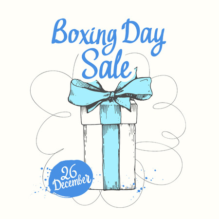 holiday illustration. Christmas present on white background. Handwritten inscription. Lettering design. Beautiful gift box with ribbon. Sketch style. Boxing day. Stock Photo