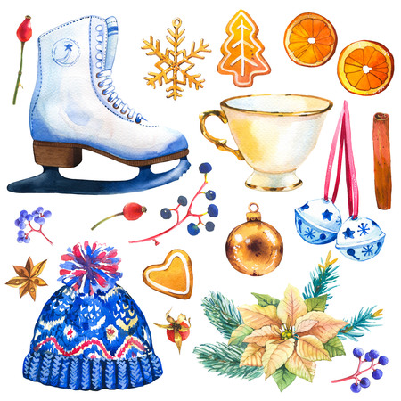 Christmas watercolor illustration in picturesque style. Holiday set with poinsettia, bell, skates, orange, holly, cup, hat, cookies, ball, branch, spruce, cinnamon. New year decoration.