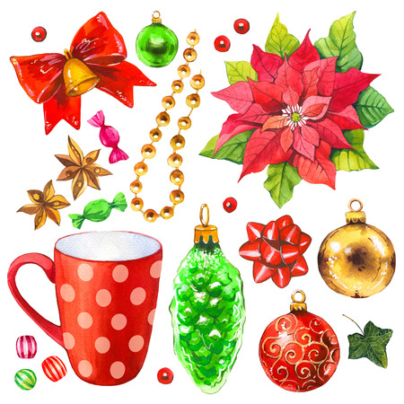 Christmas watercolor illustration in picturesque style. Holiday set with ribbon, poinsettia, bell, holly, cup, beads, ball. New year decoration. New year decoration. Stock Photo