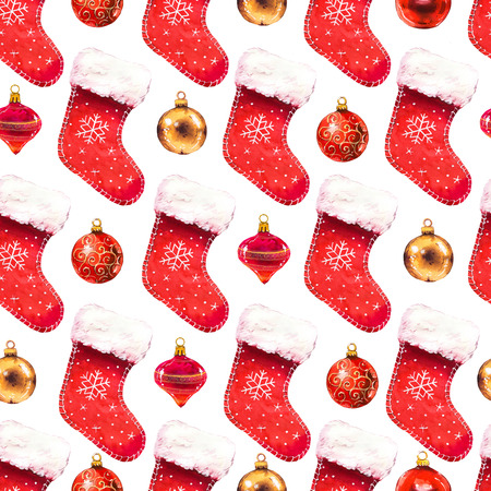 Christmas watercolor illustration in picturesque style. Holiday seamless pattern with red socks and balls. New year decoration on white background.