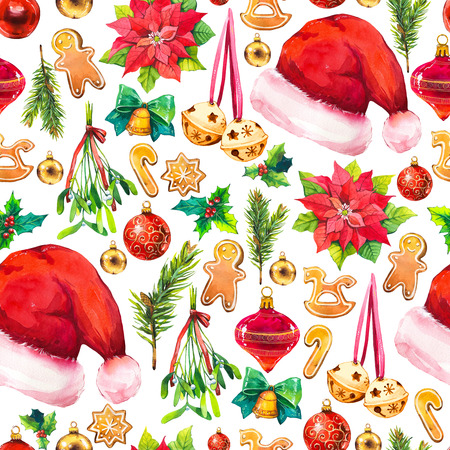 Christmas watercolor illustration in picturesque style. Holiday seamless pattern with ribbon, poinsettia, holly, hat, ball, branch, mistletoe, bell, cookies. New year decoration on white background.