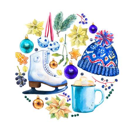 Christmas watercolor circle illustration in picturesque style. Holiday set with ribbon, skate, spruce, poinsettia, berries, hat, holly, cup, ball. New year decoration.