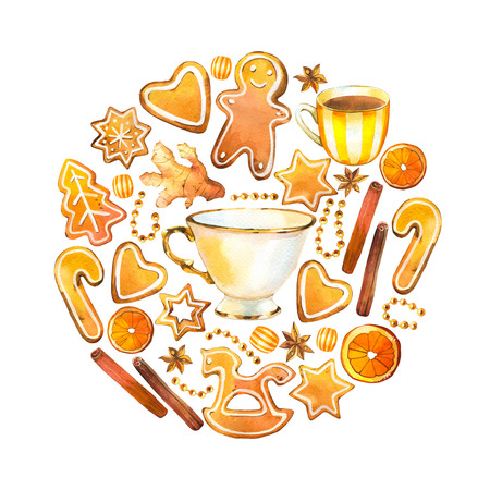 Christmas watercolor circle illustration in picturesque style. Holiday set with ginger cookies, cinnamon, cup, beads, orange. New year decoration on white background.