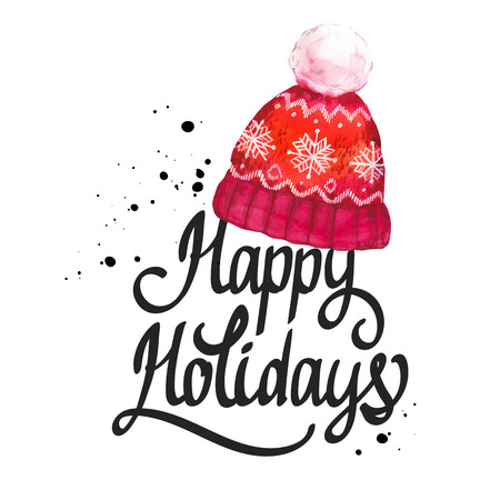 Watercolor holiday illustration with red knit hat on white background. Handwritten inscription. Lettering design. Happy Christmas. Stok Fotoğraf