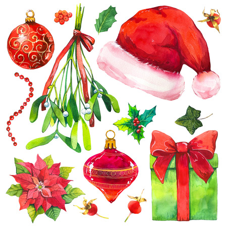 Christmas watercolor illustration in picturesque style. Holiday set with ribbon, poinsettia, holly, hat, ball, branch, mistletoe. New year decoration.