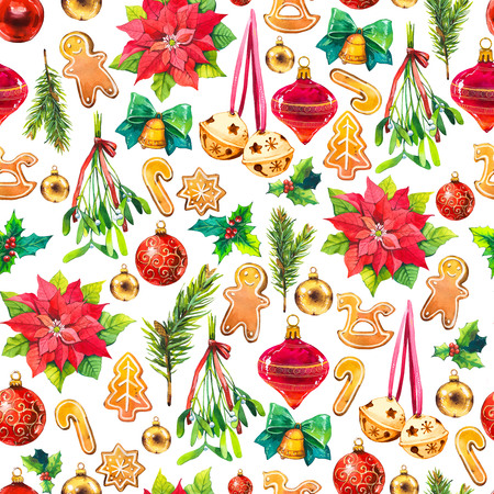 Christmas watercolor illustration in picturesque style. Holiday seamless pattern with ribbon, poinsettia, holly, ball, branch, mistletoe, bell, cookies. New year decoration on white background.