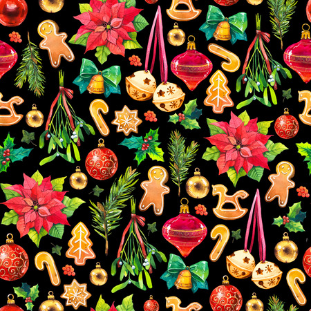 Christmas watercolor illustration in picturesque style. Holiday seamless pattern with ribbon, poinsettia, holly, ball, branch, mistletoe, bell, cookies. New year decoration on black background. Фото со стока
