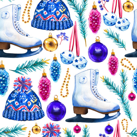 Christmas watercolor illustration in picturesque style. Holiday seamless pattern with ribbon, spruce, cone, skates, knitted hat, beads, ball. New year decoration on white background. Фото со стока