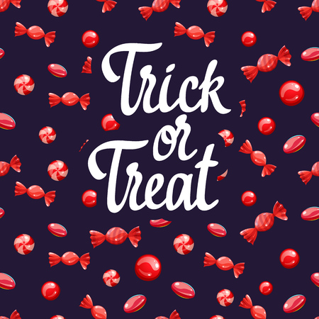 Happy Halloween poster with multicolored candy pattern. Funny vector illustration for holiday in cartoon style. Seamless background. Foto de archivo - 116587721