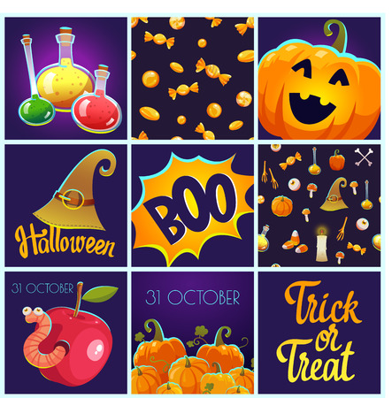 Set with Halloween patterns and posters. Funny and scary objects. Vector illustration of eyes, potion, broom, candies, hat and boots in cartoon style. Illustration