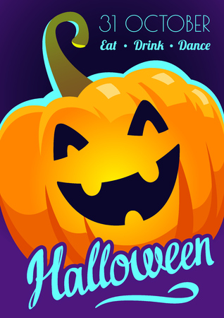 Happy Halloween poster. Funny background with scary objects and pumpkin. Vector sillustration in cartoon style.