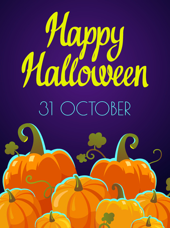 Halloween party poster. Funny background with pumpkins in cartoon style. Vector holiday illustration.  イラスト・ベクター素材