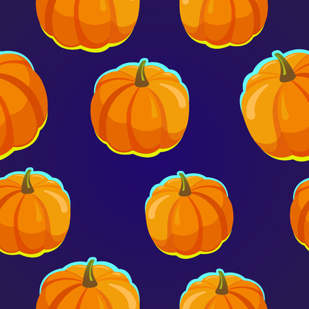 Seamless pattern. Halloween party poster. Funny background with pumpkins in cartoon style. Vector holiday illustration. Foto de archivo - 116587724