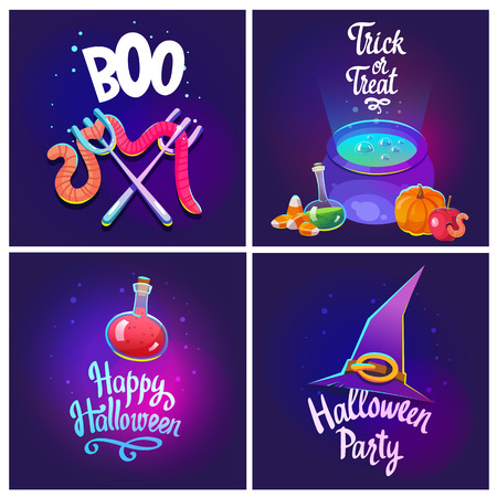 Set with Halloween composition. Funny pot with blue potion, apple with worm, witchs hat, pumpkin and scary candies. Vector illustration for holiday in cartoon style.