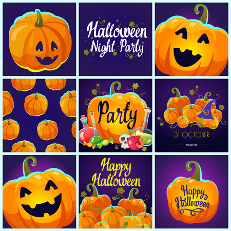 Set with Halloween pattern and posters. Funny and scary objects. Vector illustration of pumpkins in cartoon style.