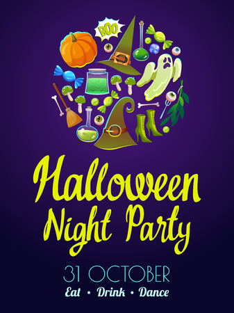 Halloween party poster. Funny background with scary objects. Vector set with eyes, potion, candies, witches hat and pumpkin in cartoon style. Illustration