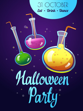 Happy Halloween composition. Funny vector illustration with multicolored potion for holiday in cartoon style.