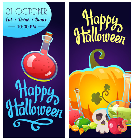 Set with Halloween labels. Funny and scary objects. Vector illustration of eyes, potion, broom, candies, hat and boots in cartoon style. Illustration
