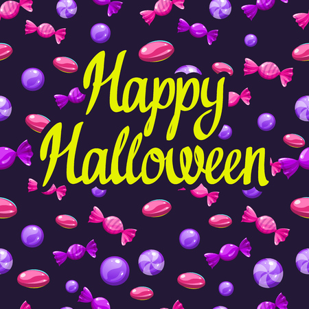 Happy Halloween poster with multicolored candy pattern. Funny vector illustration for holiday in cartoon style. Seamless background. Foto de archivo - 112406053