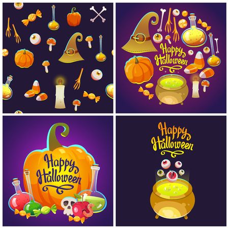 Set with Halloween patterns. Funny and scary objects. Vector illustration of eyes, potion, broom, candies, hat and boots in cartoon style. Stock Photo