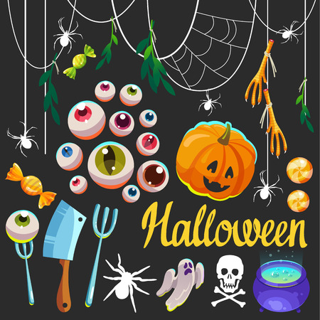 Halloween witches set with funny and scary objects. Vector illustration of eyes, potion, candies, pumpkin, spider, ghost in cartoon style.