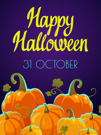 Halloween party poster. Funny background with pumpkins in cartoon style. Vector holiday illustration. Foto de archivo - 112406088