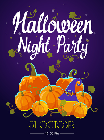 Halloween party poster. Funny background with witches hat and pumpkin in cartoon style. Vector holiday illustration.