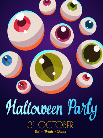 Halloween composition. Funny vector illustration with multicolor eyes for holiday scary poster in cartoon style. Trick or treat. Stock Photo
